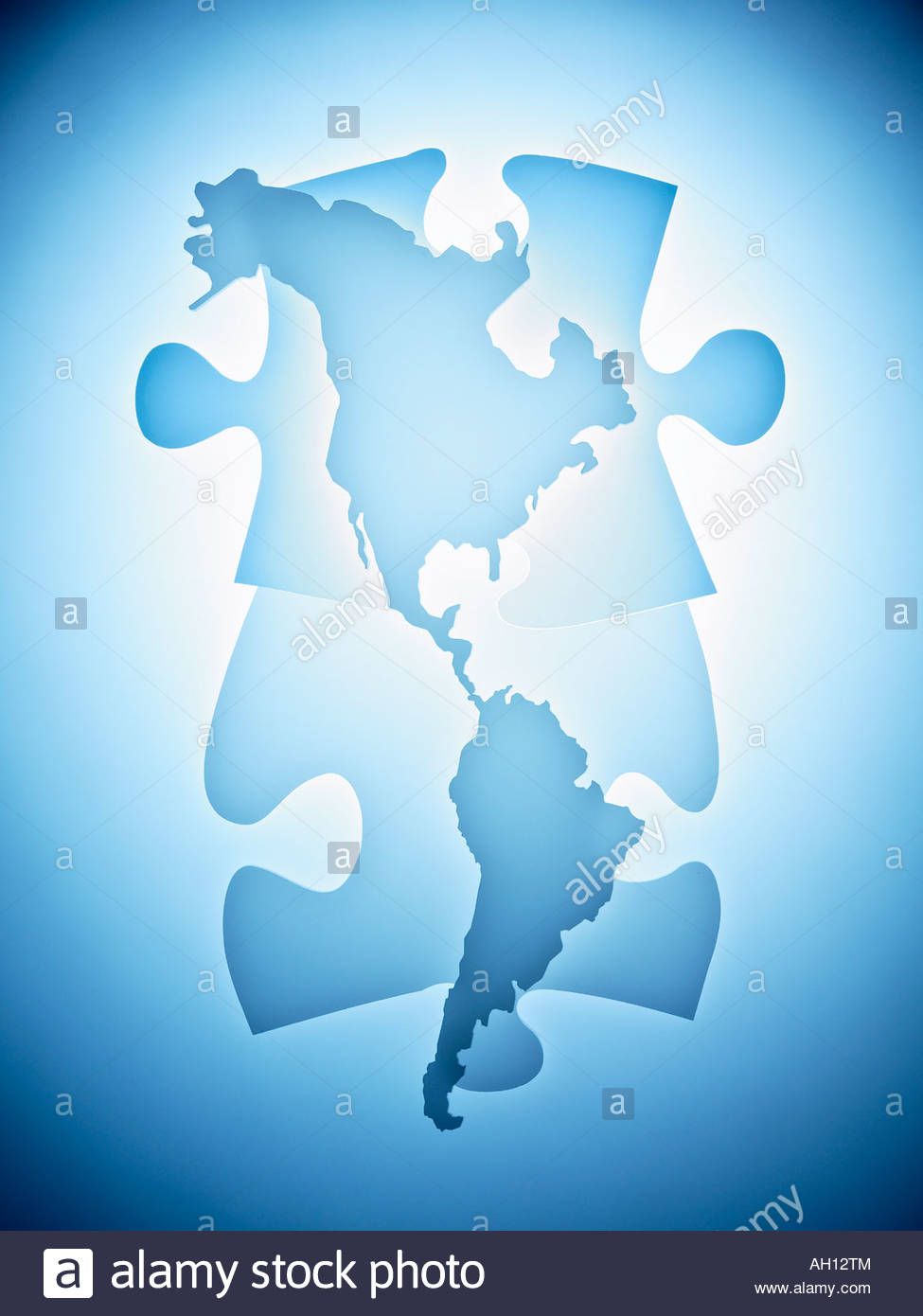 Jigsaw puzzle world map stock photos jigsaw puzzle world map stock symbolic puzzle pieces combined with map of north america stock image gumiabroncs Image collections