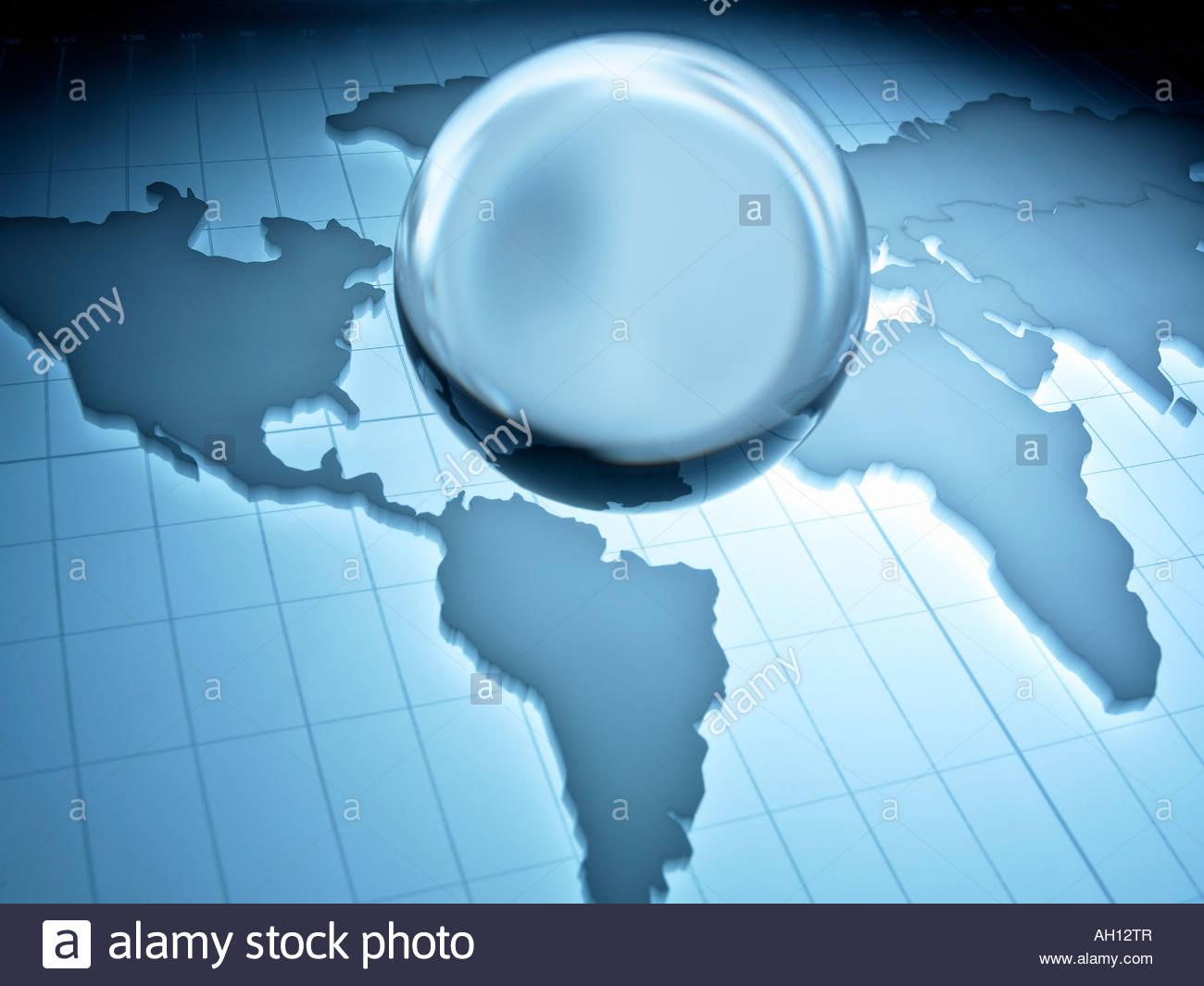 Map of world with stylized globe - Stock Image