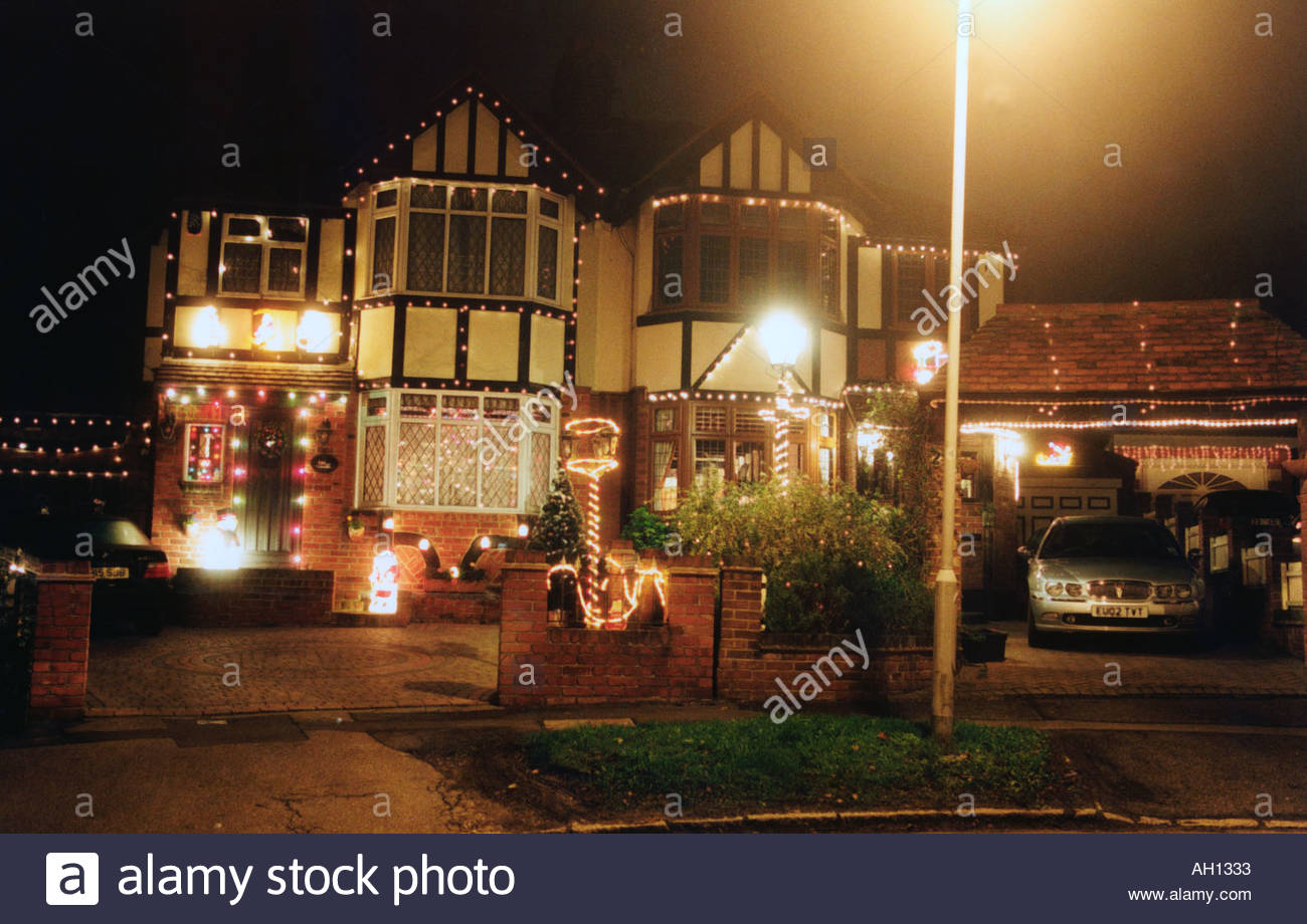 Private House Lit Up With Christmas Lights Uk Stock Photo 1119026