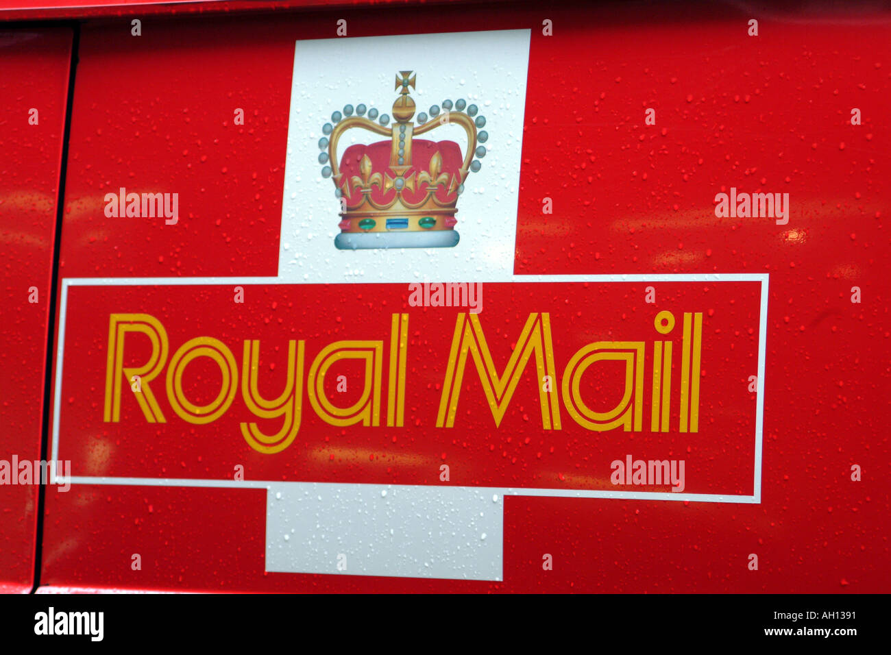 Royal Mail Logo on Post Office Van - Stock Image