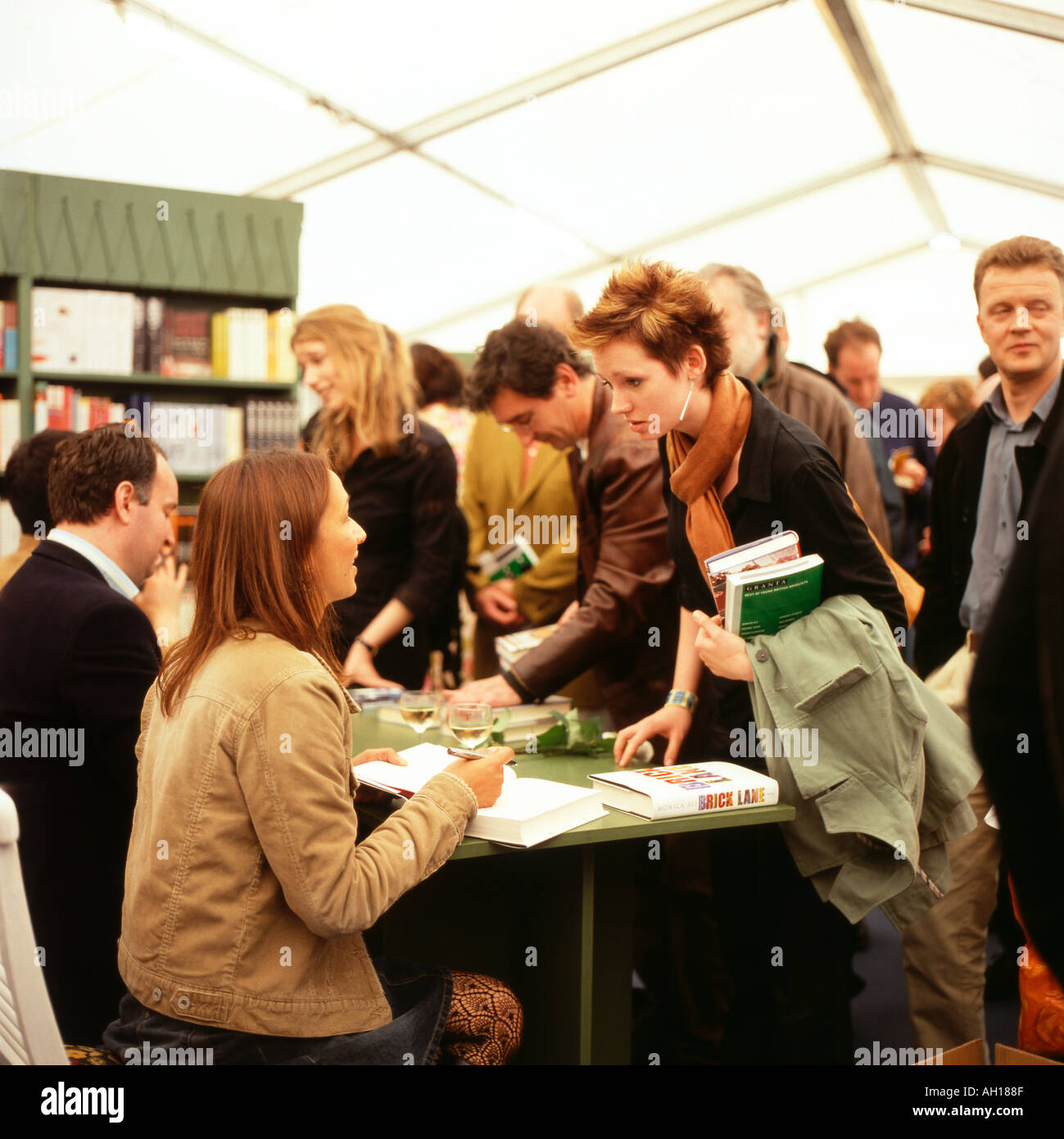 Bookshop queue for British Author Monica Ali after her talk signing her book 'Brick Lane' at Hay Festival  Hay-on-Wye Wales UK   KATHY DEWITT - Stock Image