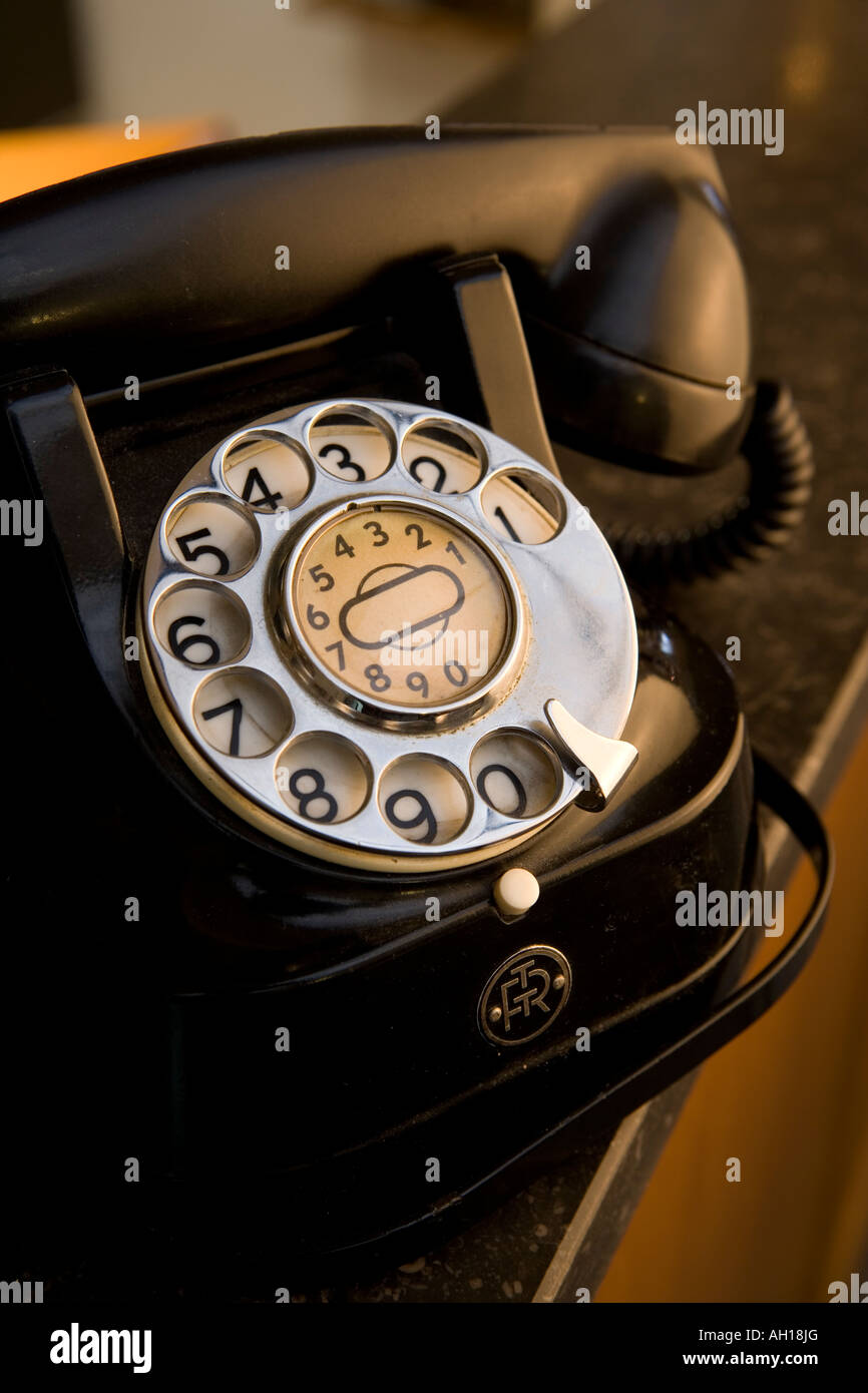 black bakelite telephone as it was produced during the 1950's by Belgium's state-owned 'Regie voor Telefonie - Stock Image