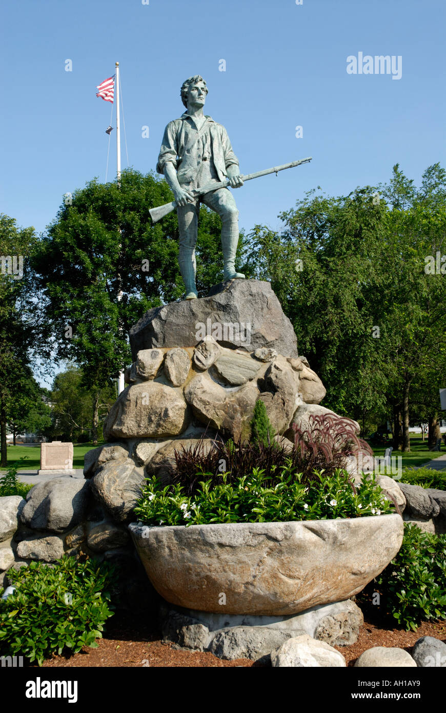 Memorial statue of Captain John Parker at Lexington Battle Green site of the beginning of the American Revolution Stock Photo