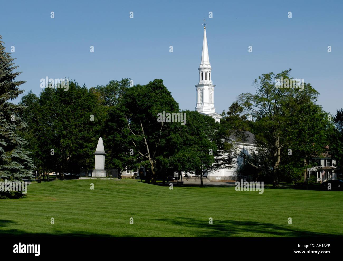 Lexington Battle Green, site of the firt skirmish of the American Revolution, April 19, 1775 Stock Photo