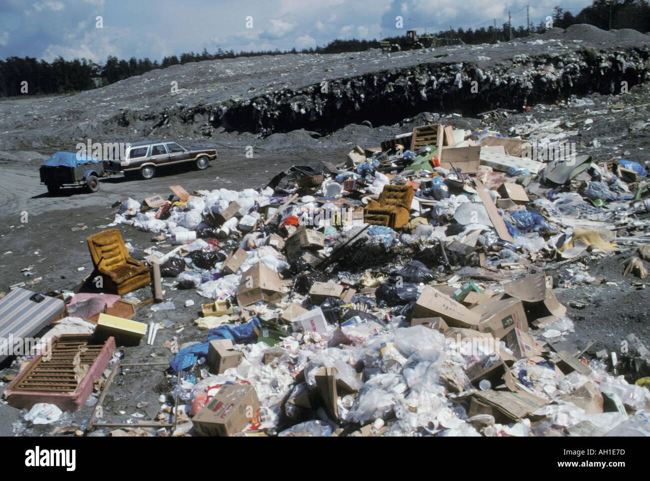 Trash at a open landfill in western Washington USA - Stock Image