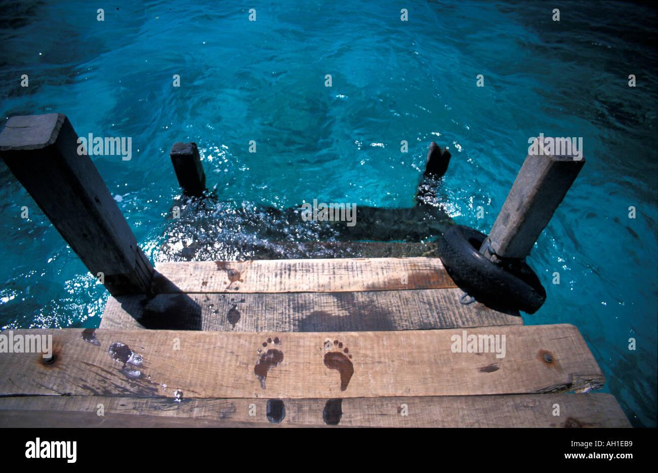 Pulau Menjangan an internationally popular dive spot and part of Bali Barat National Park Footprints on a jetty - Stock Image