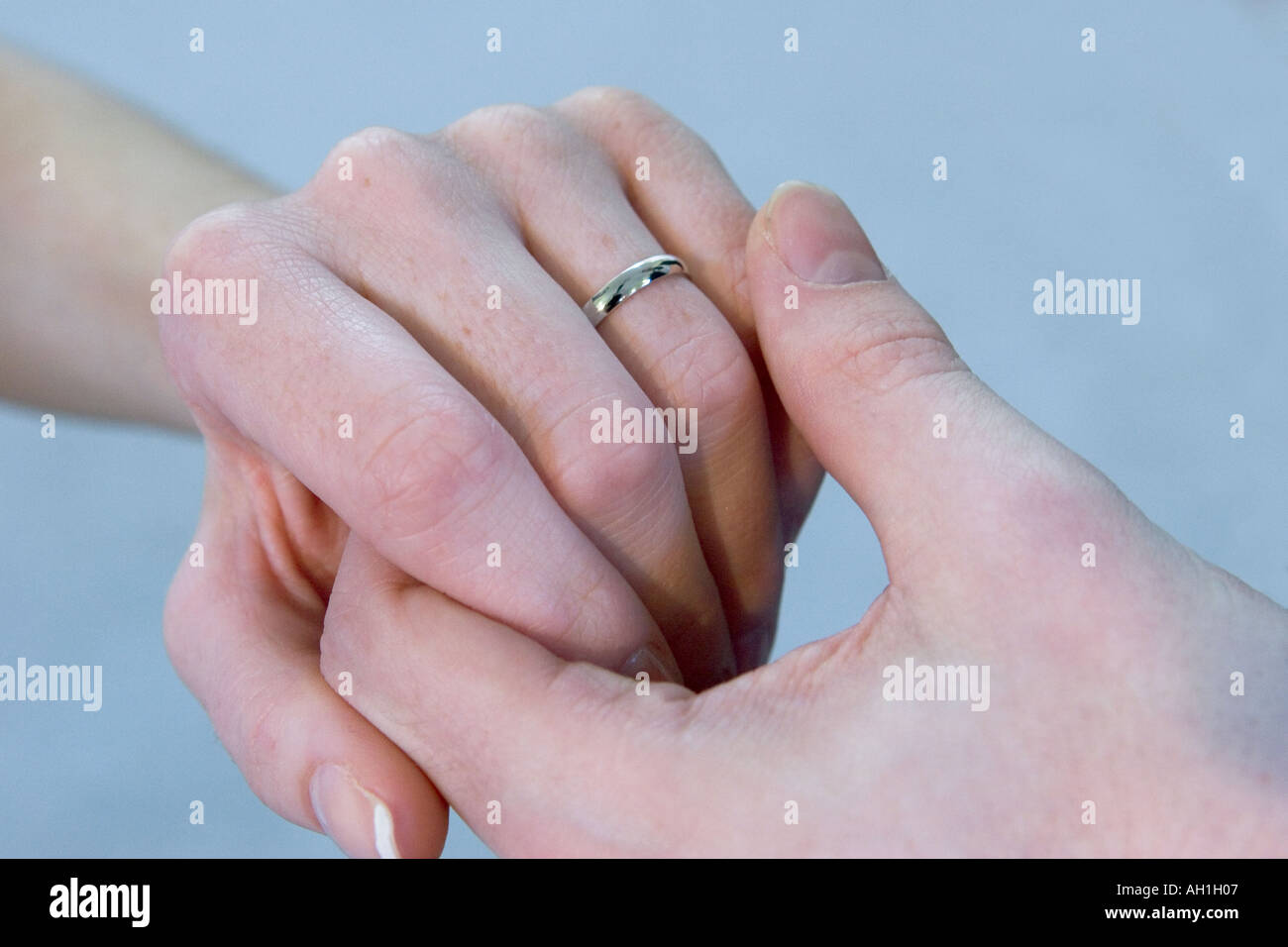 Man Woman With Wedding Ring Hands Male And Female Of Newly