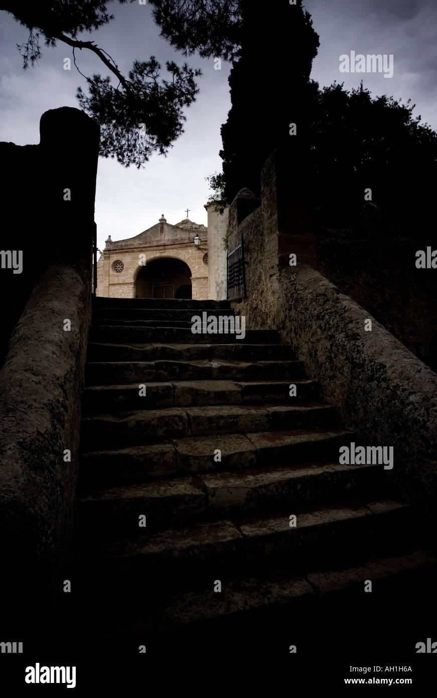 Spooky steps at the Ermita de Nostra Senyora del Puig Pollença Pollenca Mallorca Spain - Stock Image