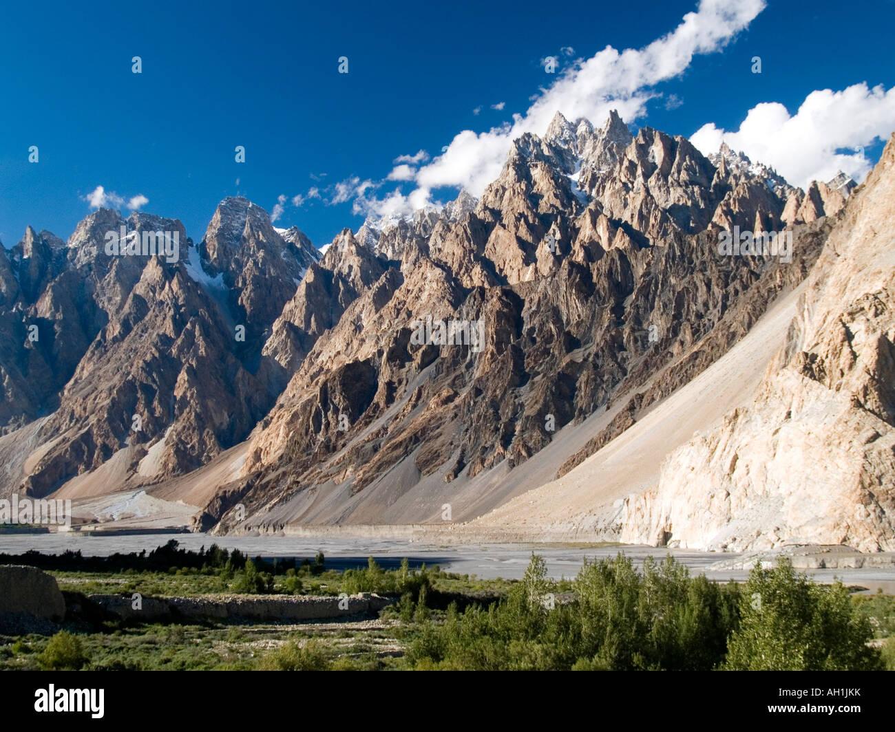 the majestic Passu Cathedrals in the Karakoram Mountains Pakistan - Stock Image