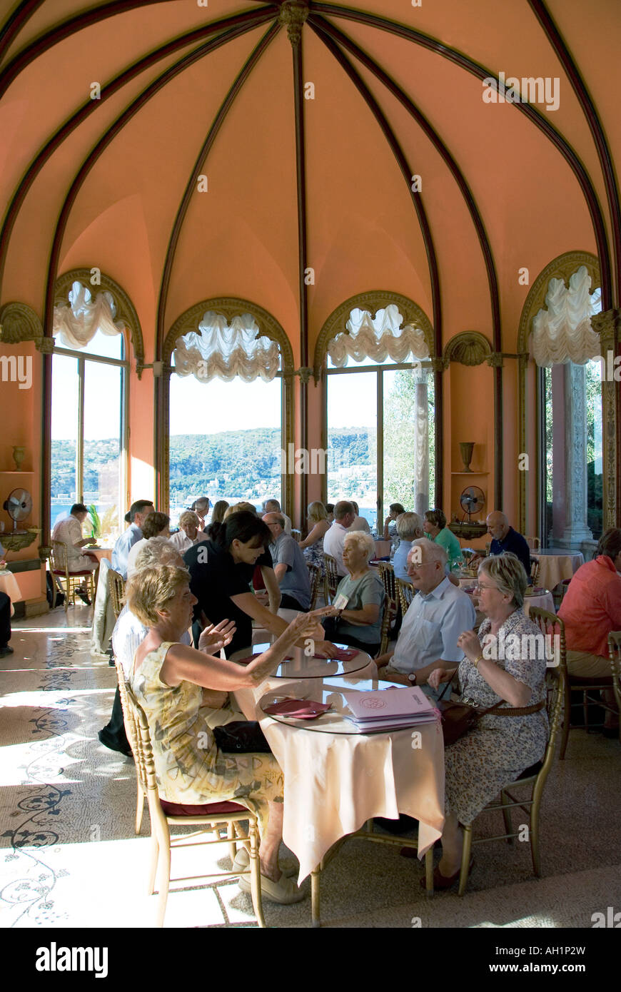The cafe at the Villa Rothschild at Saint Jean Cap Ferrat near Nice, on the Cote d'Azur, southern France - Stock Image