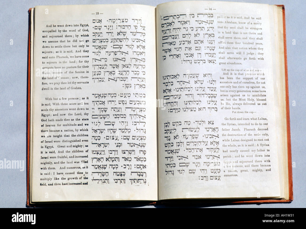 Hagadah Service For Passover Text In Hebrew And English - Stock Image