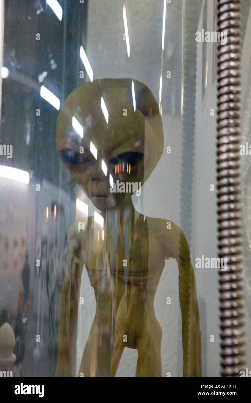 A model alien in the UFO Museum in Roswell New Mexico where an alien spaceship is alleged to have crashed - Stock Image
