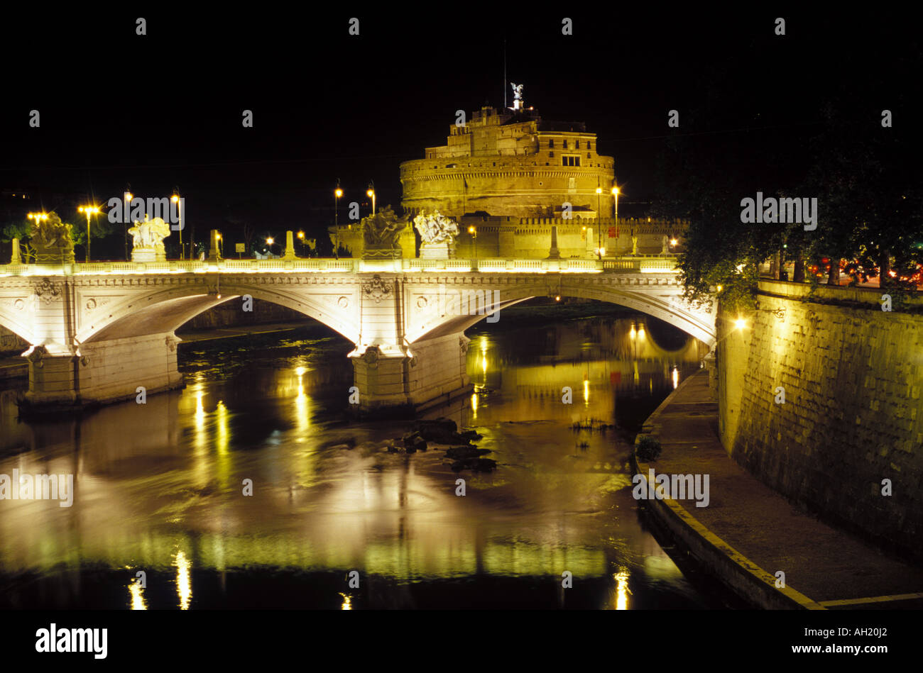 The Castel Sant Angelo set along the Tiber river in Rome Stock Photo