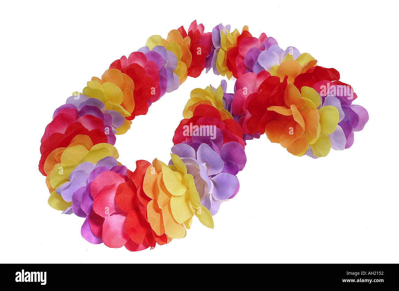 multi colored lei silhouetted on white background - Stock Image