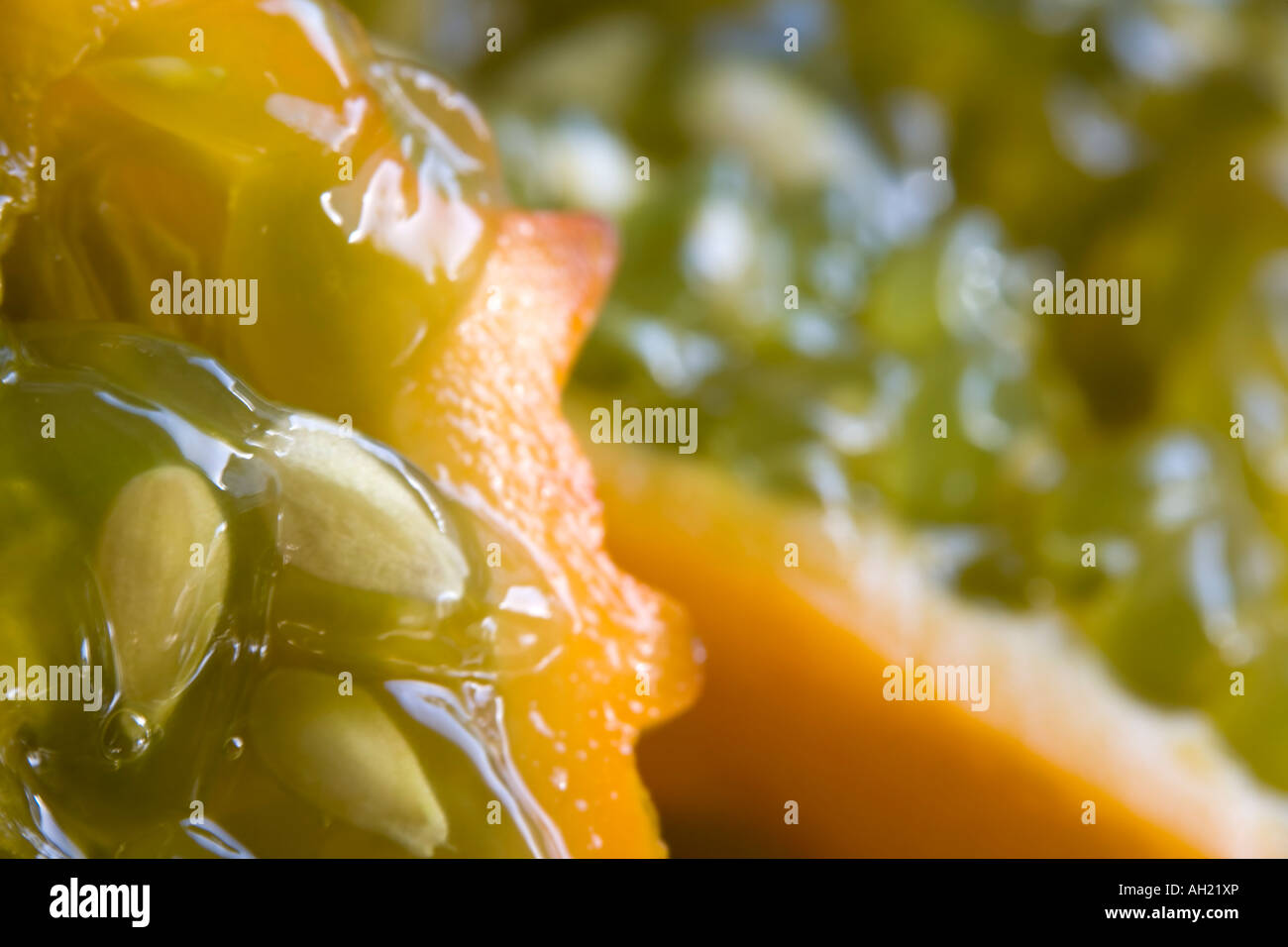 Macro shot of the inside of a horned melon - Stock Image