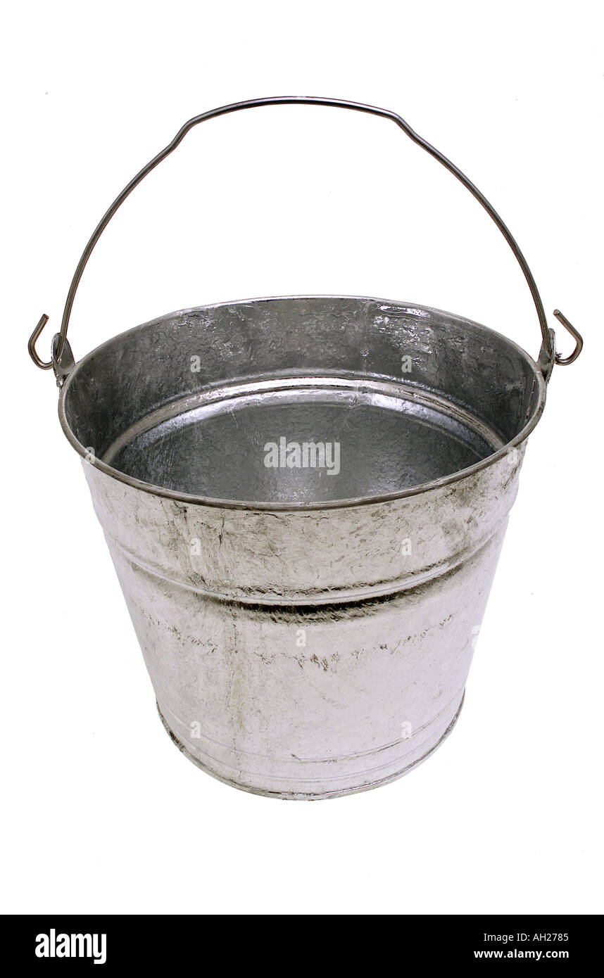 empty gray metal tin pail bucket silhouetted on white background - Stock Image