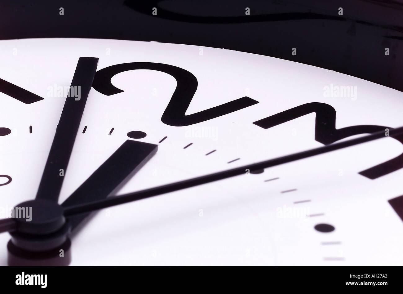 Clock hands at 2:07 - Stock Image