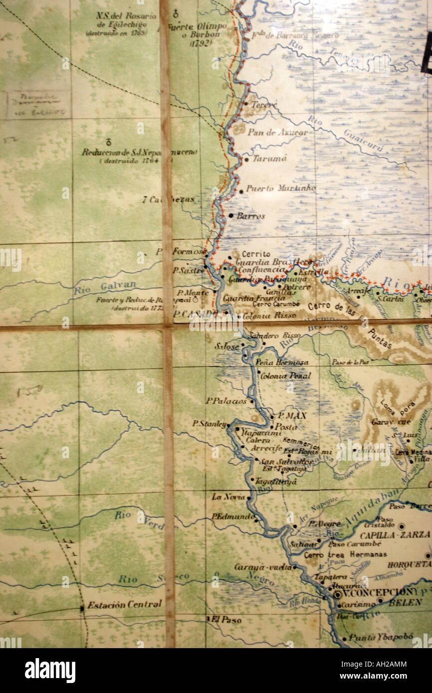 Paraguay river map Stock Photo: 14335123 - Alamy