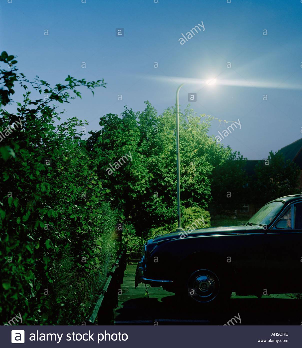 Classic Car Jaguar At Night With Street Light Stock Photo 8191869