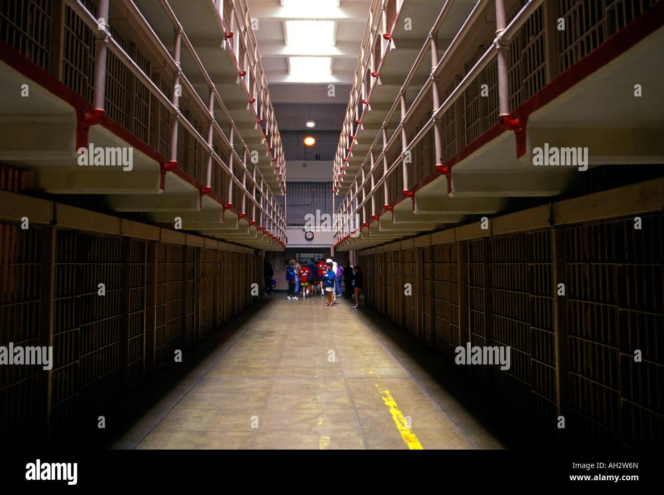 cell block, Broadway, Alcatraz Prison, Alcatraz Island, La Isla de los Alcatraces, San Francisco, California, United - Stock Image