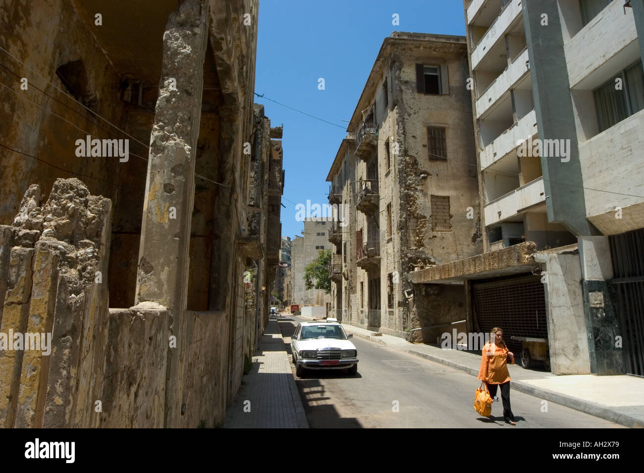 bombed out city new buildings Bierut Lebanon Middle East ...