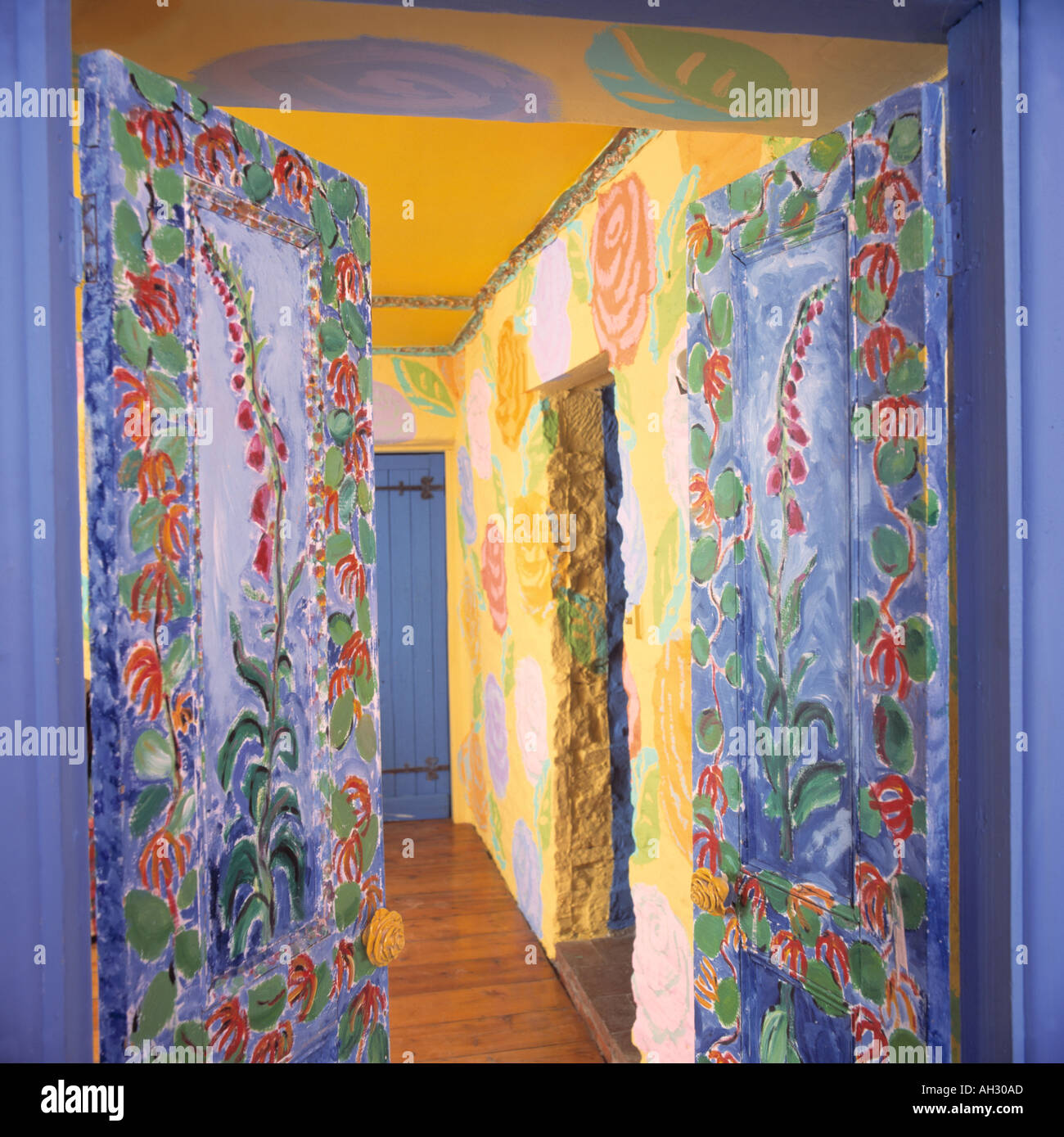 Vibrant blue and yellow hall with floral doors and walls painted by ...