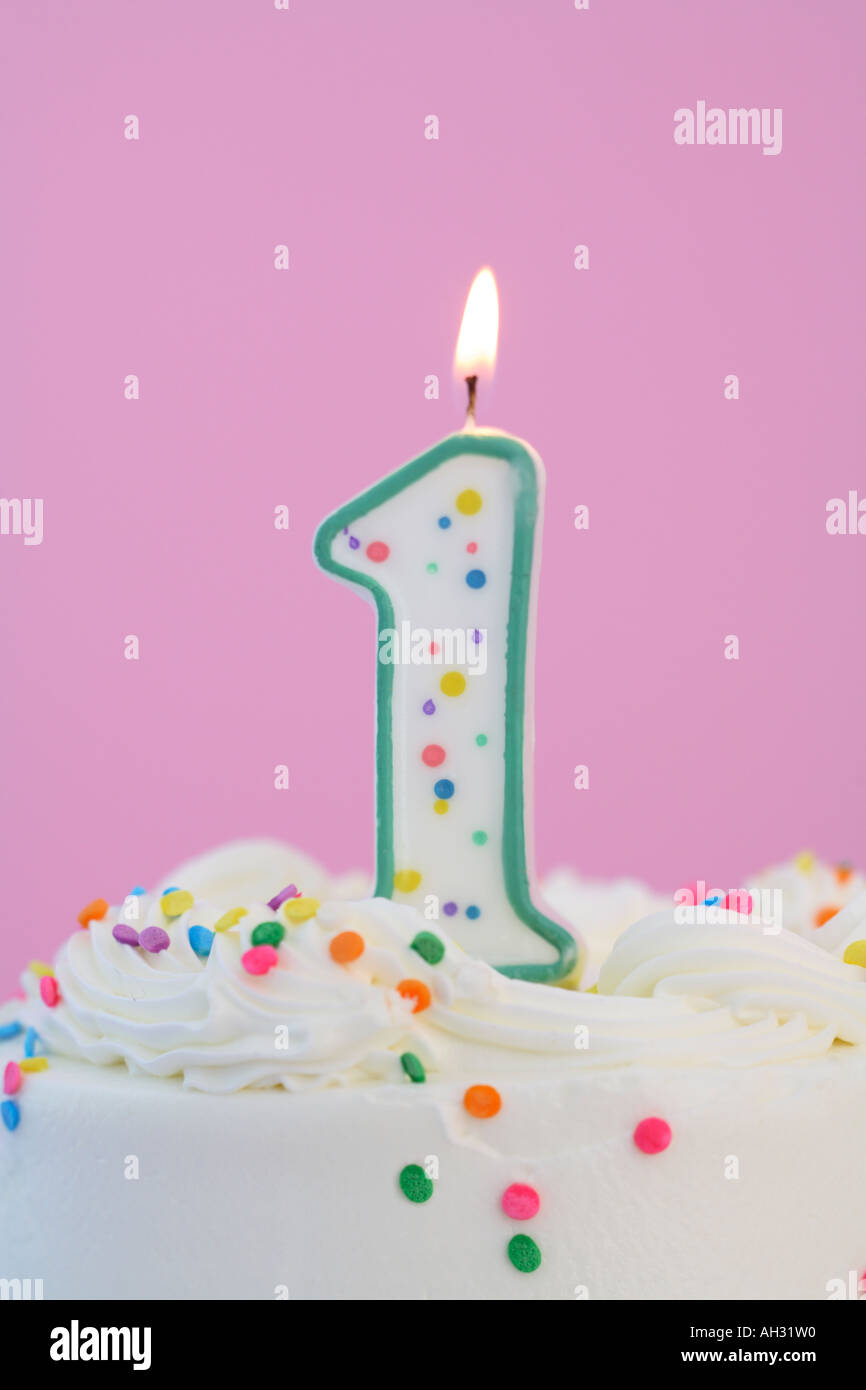 Number 1 Birthday Candle - Stock Image