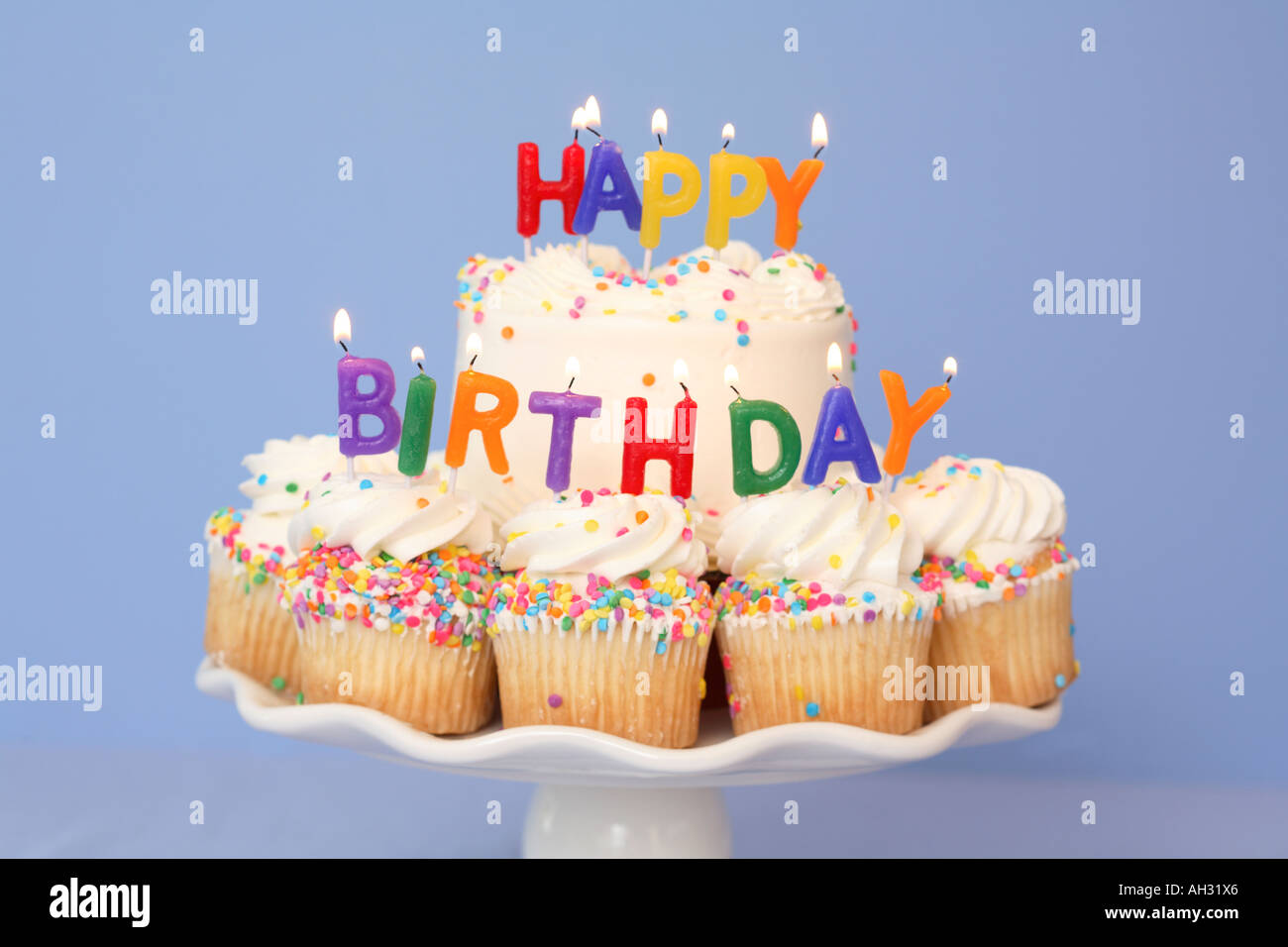 Prime Cake And Cupcakes With Happy Birthday Candles Stock Photo 8195173 Personalised Birthday Cards Arneslily Jamesorg
