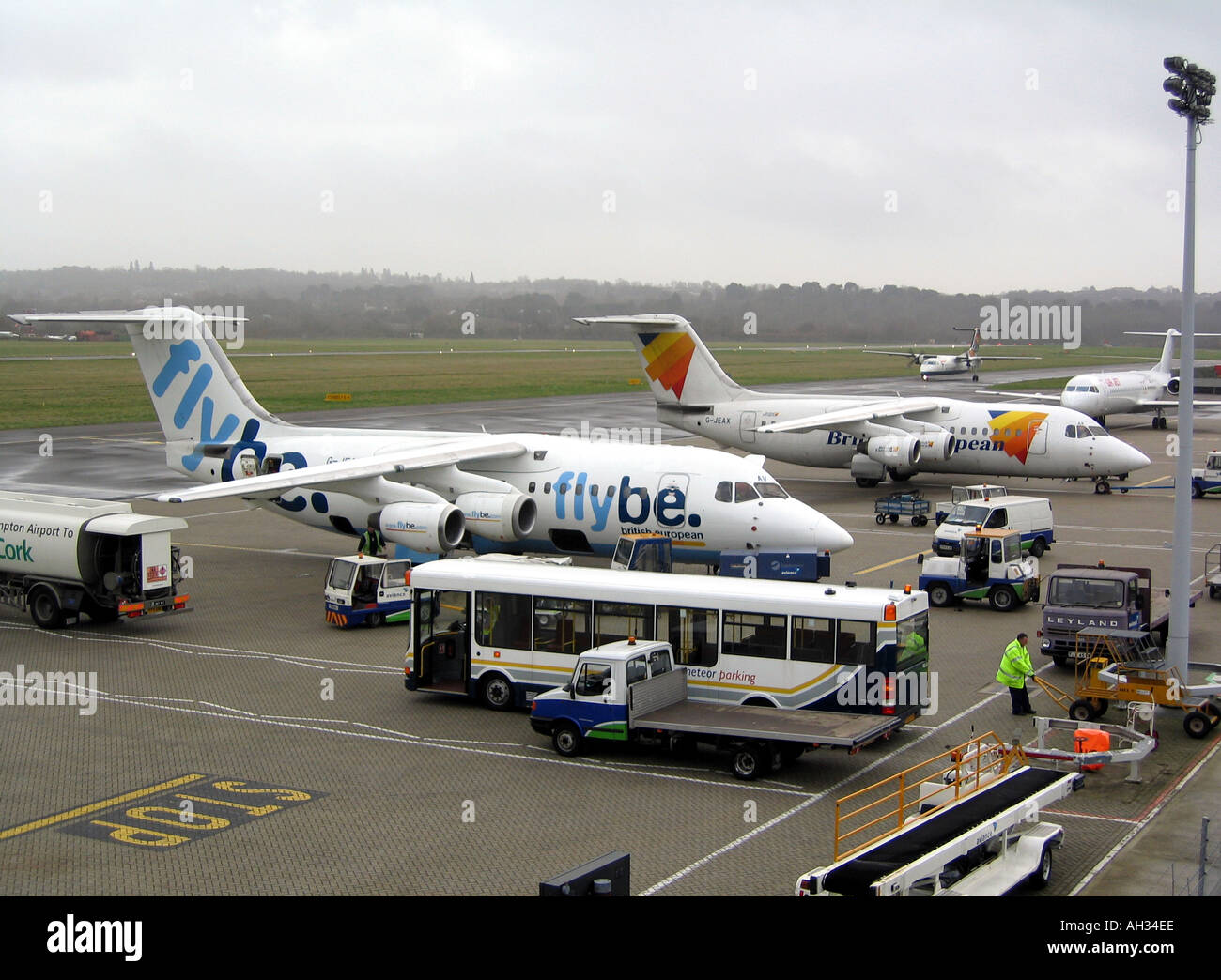 Flybe British European Aircraft on the Ramp at Southampton International Airport Hampshire England UK 4 Engined Stock Photo