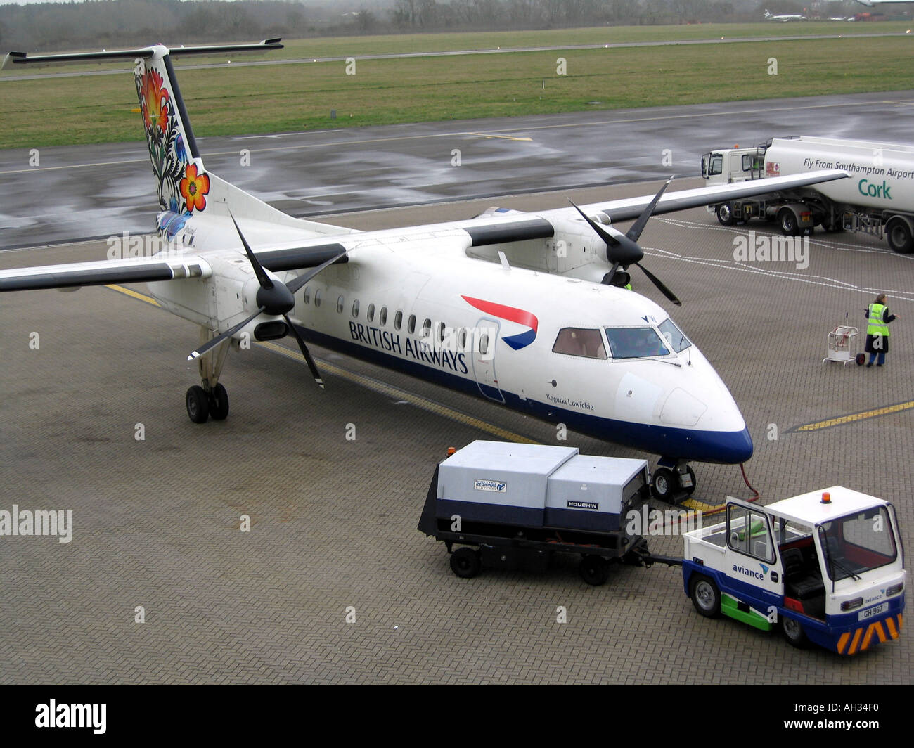 DHC 8 of the British Airways Fleet Operated by Brymon Airways at Southampton Airport Hampshire England UK 2004 - Stock Image