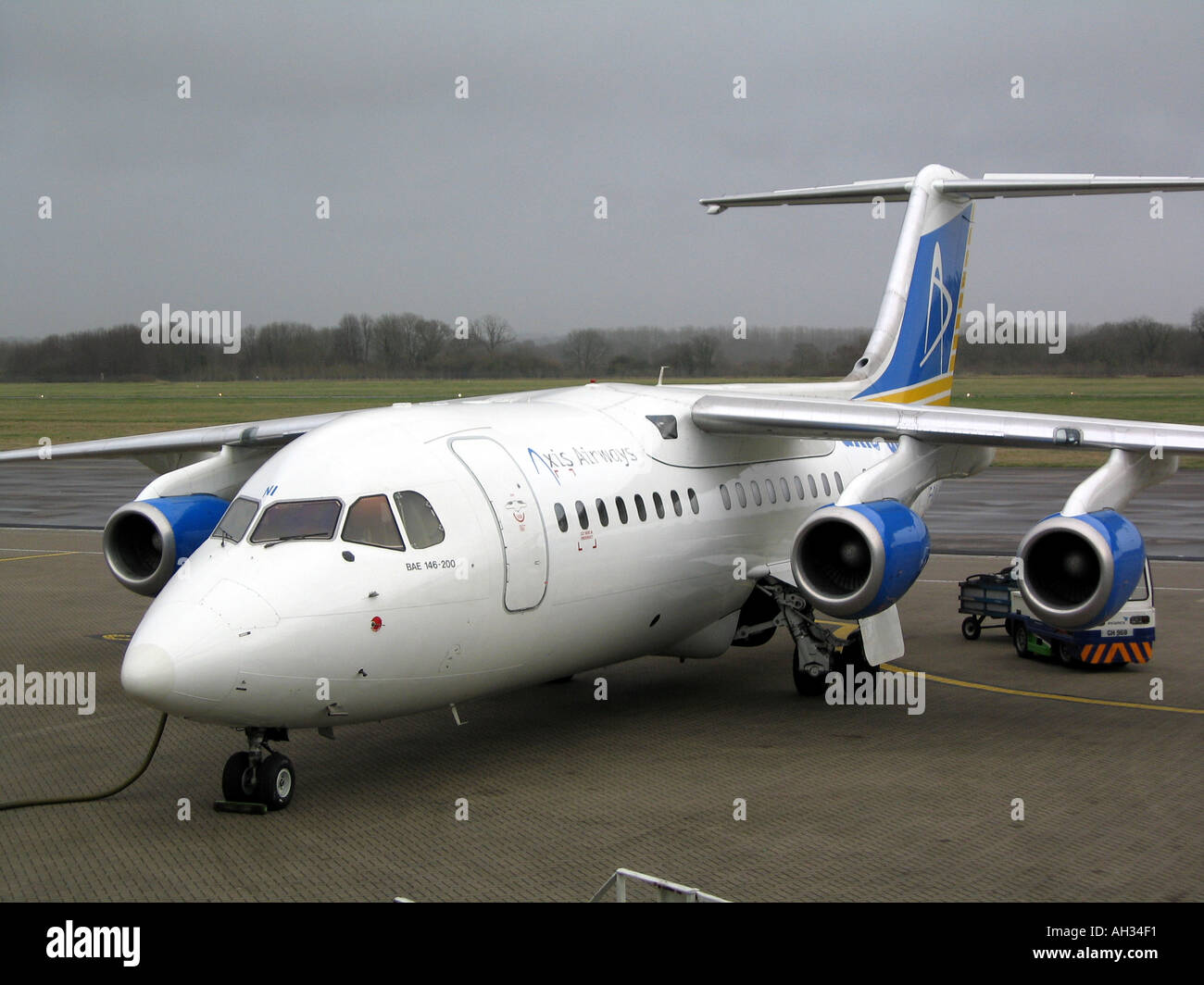 BAc146 200 4 Engined Jet AXIS Airways Based in Marseilles France FGLNI On Southampton Airport Ramp - Stock Image