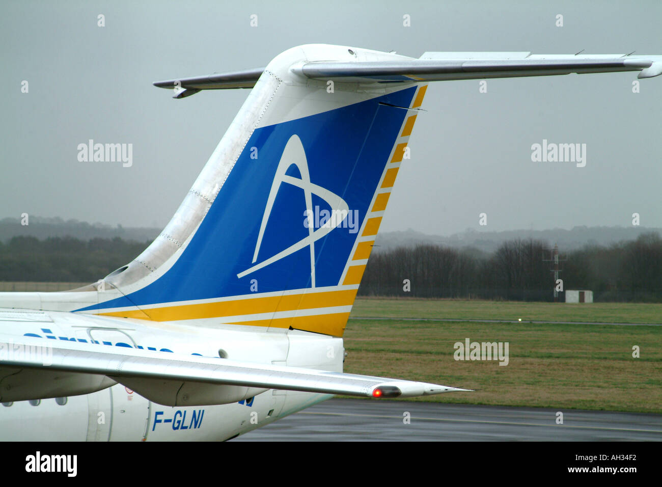 Axis Airways Tailplane Logo on BAc146 200 aircraft Marseilles Based Passenger Cargo Airline France Europe - Stock Image
