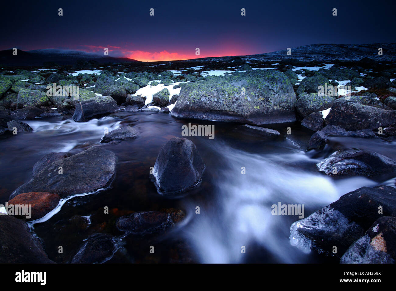 Amazing and beautiful sunrise at Valdresflya in Jotunheimen mountainrange, Norway. - Stock Image