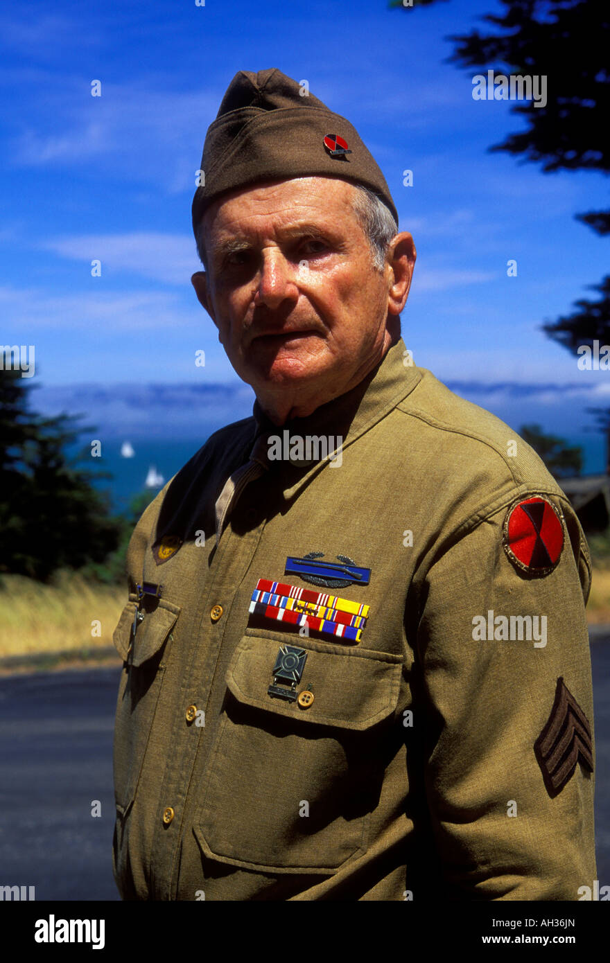 1, one, American man, military veteran, veteran of the 7th infantry, US army veteran, docent, Angel Island State Stock Photo