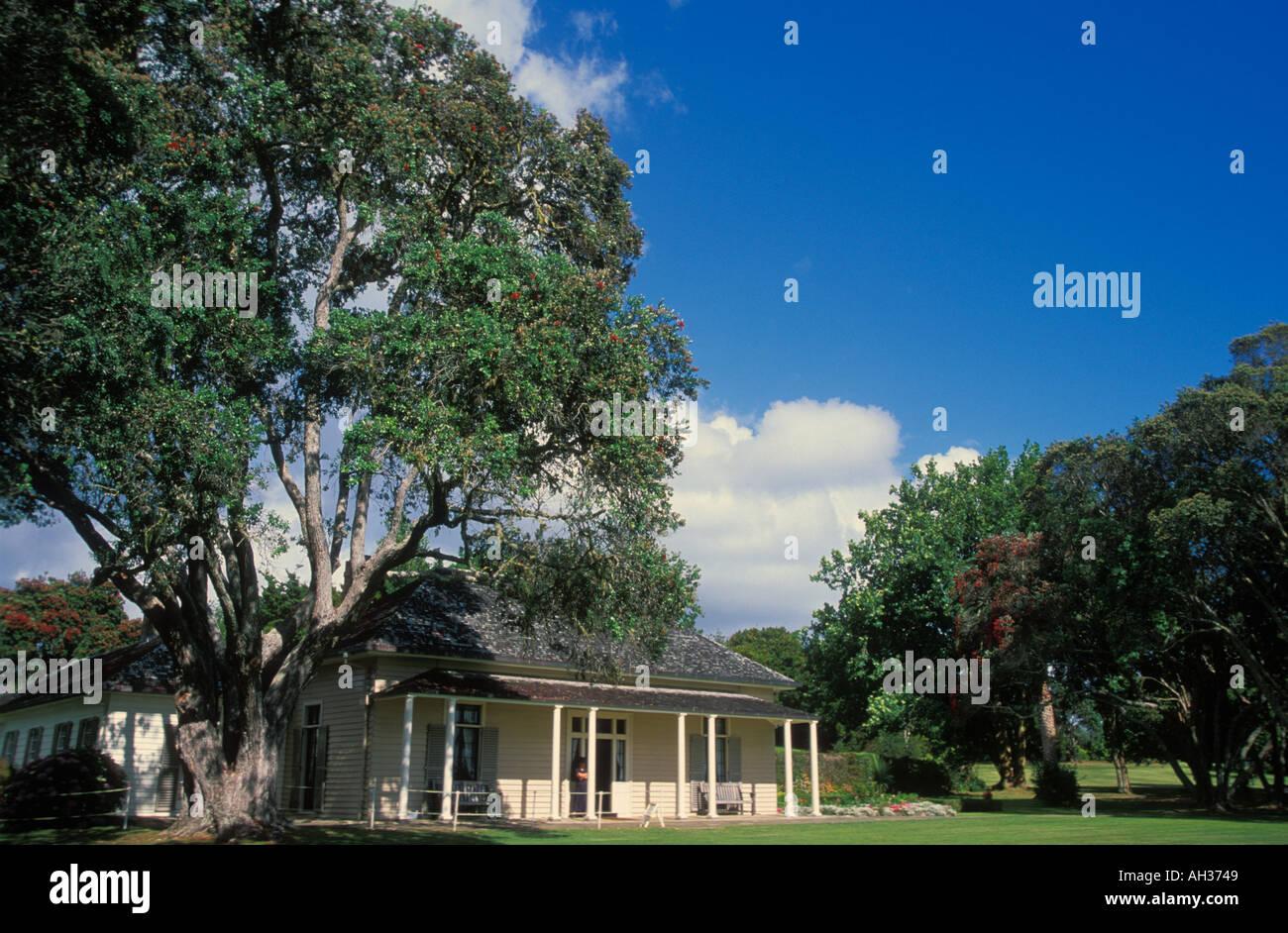 The Treaty House at Waitangi near Paihia Bay of Islands North Island New Zealand Stock Photo