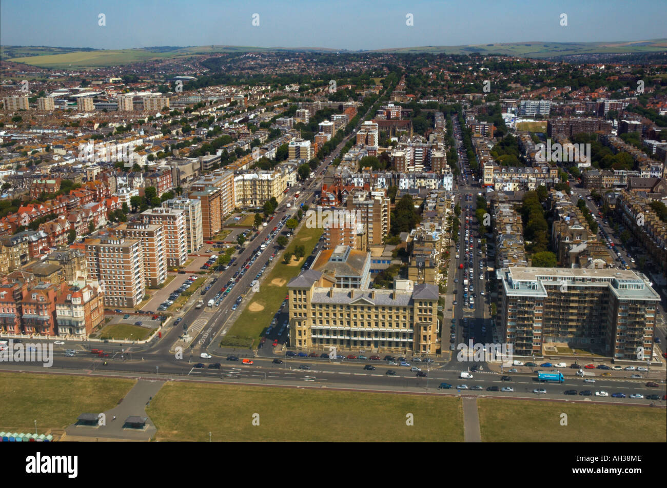 Aerial View , Grand Avenue , Hove , Sussex - Stock Image