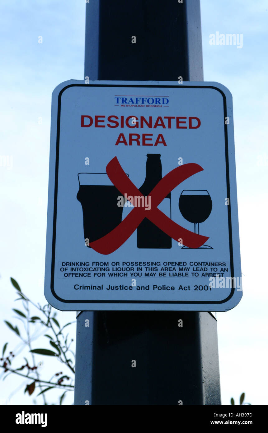 A council warning sign outside a football ground indicating Alcohol prohibited - Stock Image