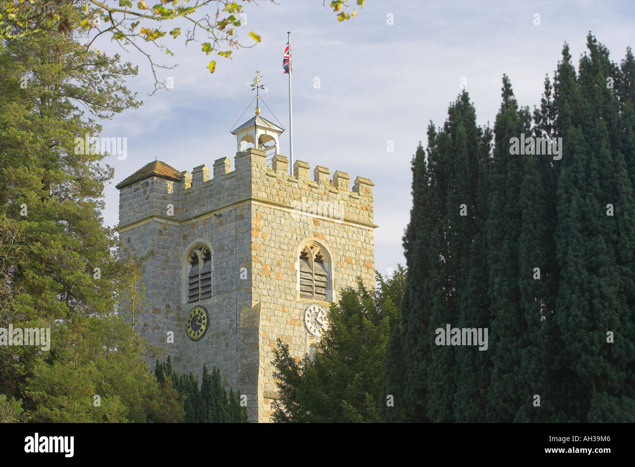 Church tower Worplesdon Stock Photo