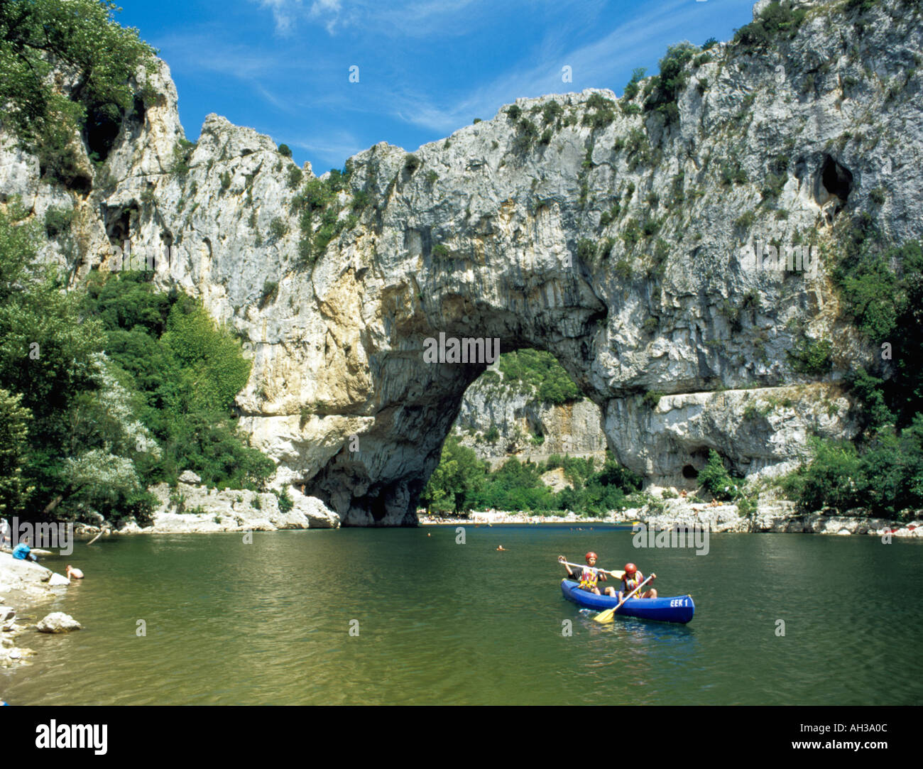 Canoeing Near Le Pont D Arc On The River Ardeche Stock Photo