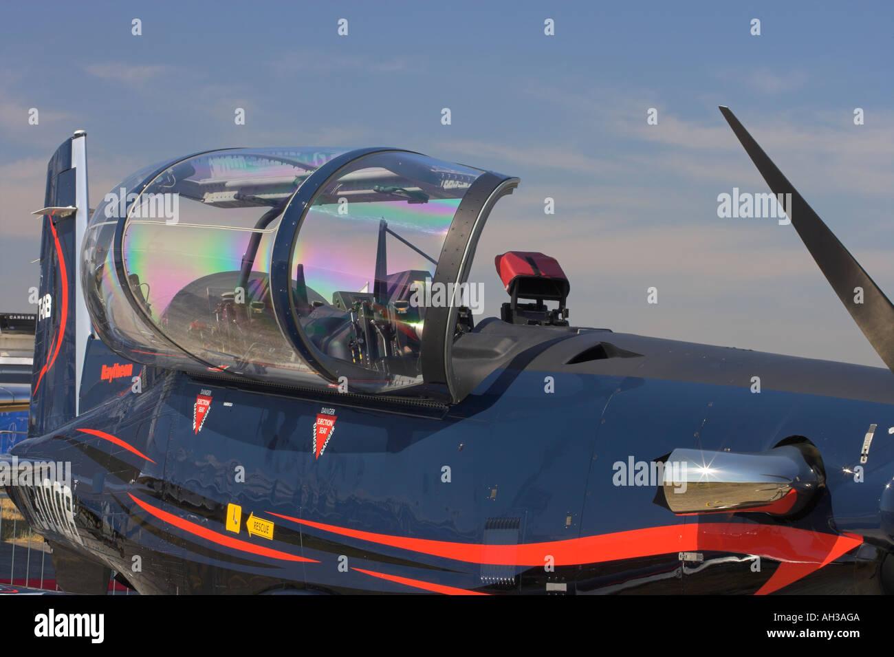 Beechcraft T6 Raytheon with open canopy - Stock Image