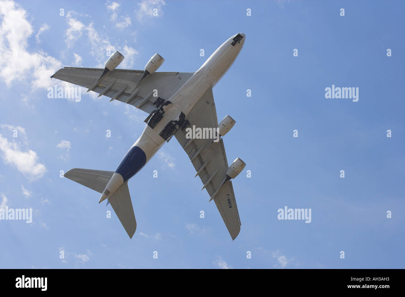 Airbus A380 super jumbo underside in fly past at Farnborough - Stock Image