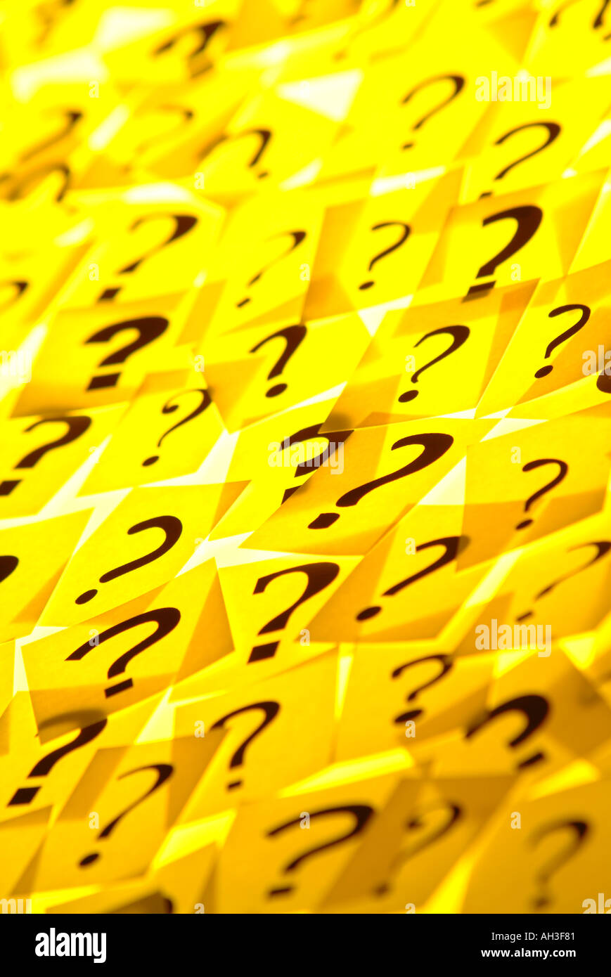 Question marks yellow Stock Photo