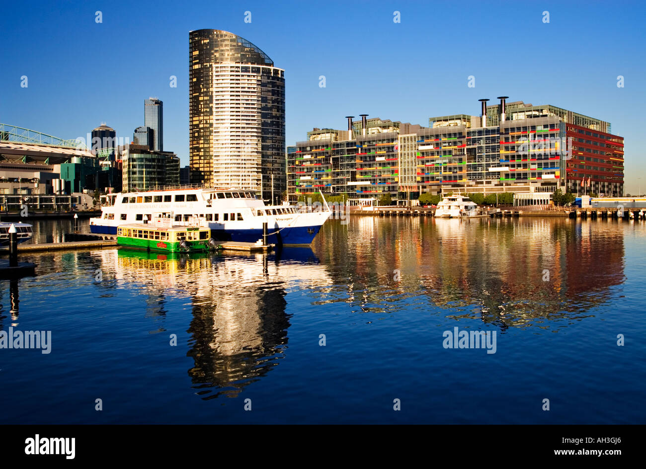 Melbourne Docklands / The Melbourne Skyline as seen from Victoria Harbour in Melbourne Victoria Australia. - Stock Image