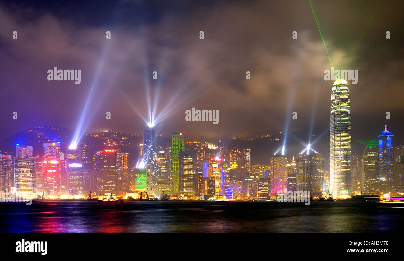 Hong Kong Skyline with evening sound and light show from Kowloon - Stock Image