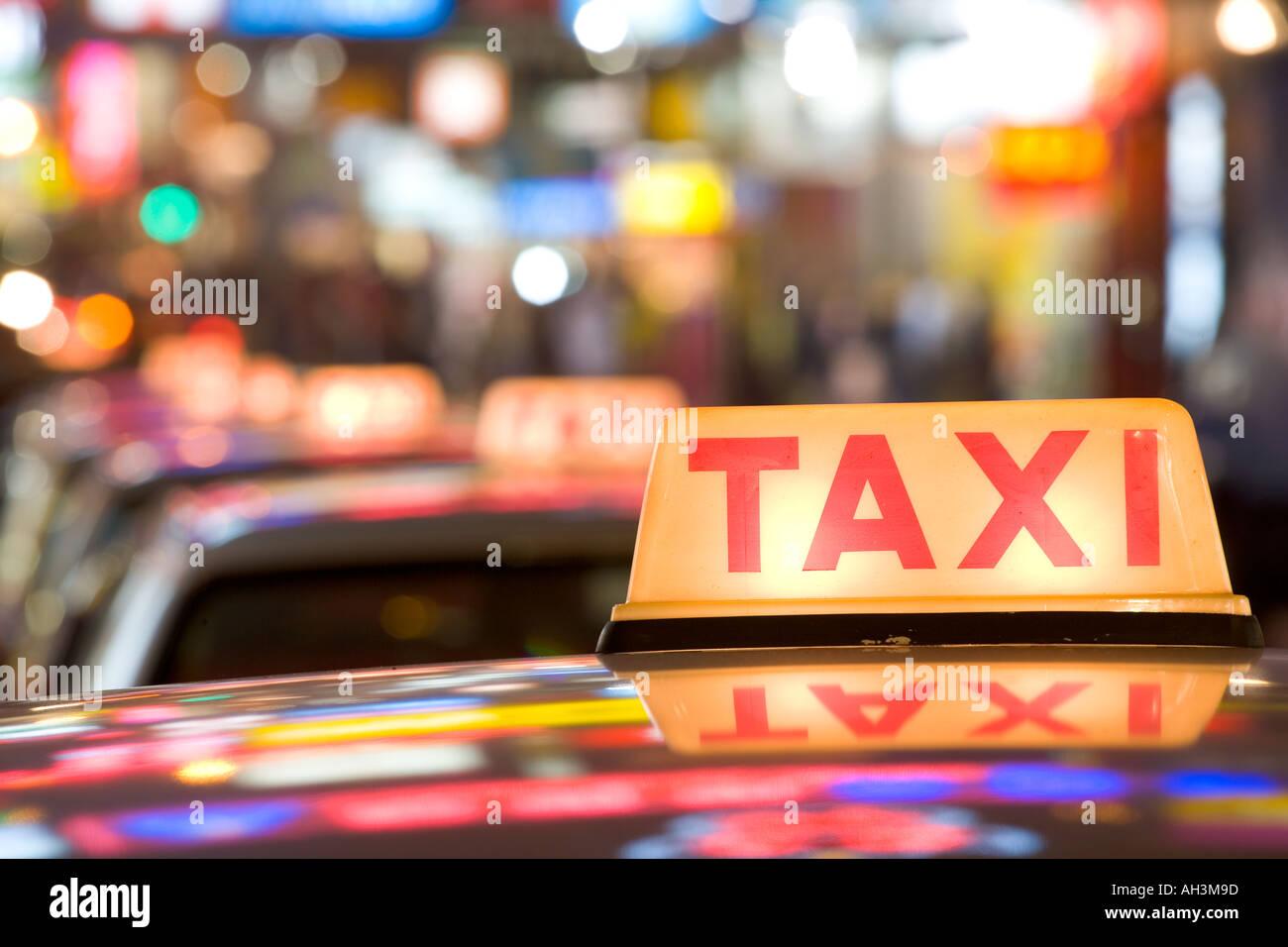 Stationary taxis Hong Kong China - Stock Image