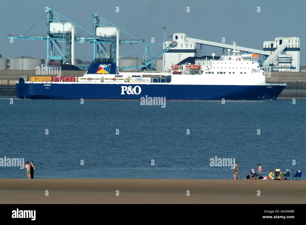 P and O P&O vessel Norbay on the River Mersey Merseyside Liverpool northern England UK and New Brighton beach - Stock Image