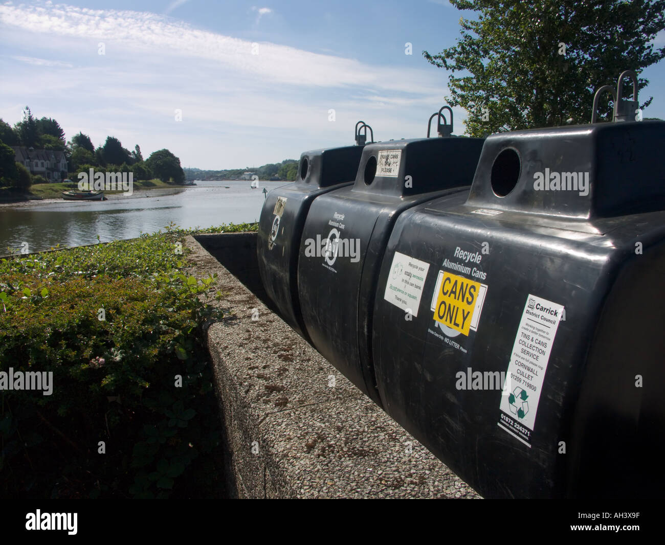 Recycling bins by the river in Truro Stock Photo