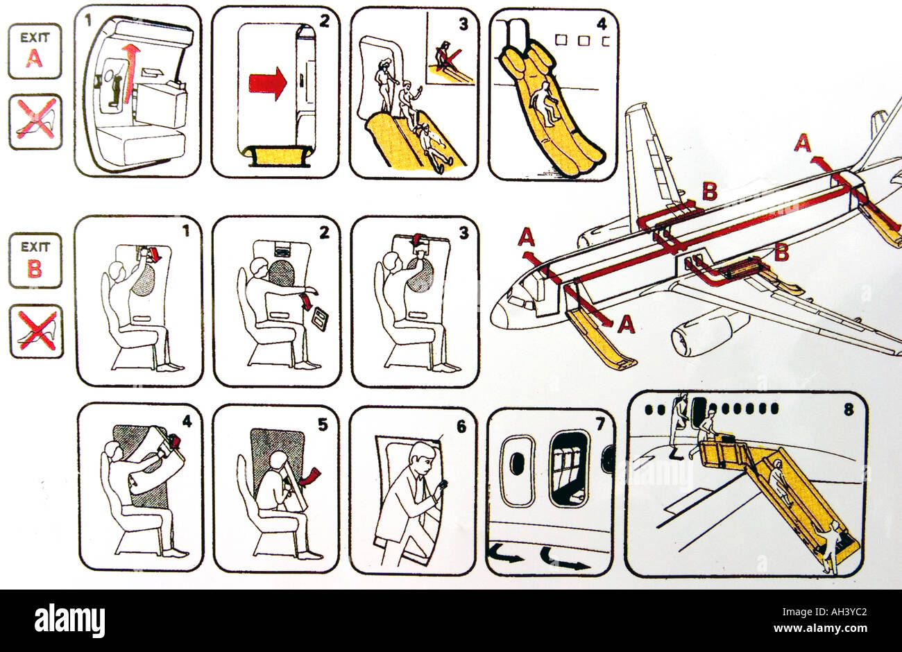 Passenger safety instructions of a plane stock photo: 4687891 alamy.