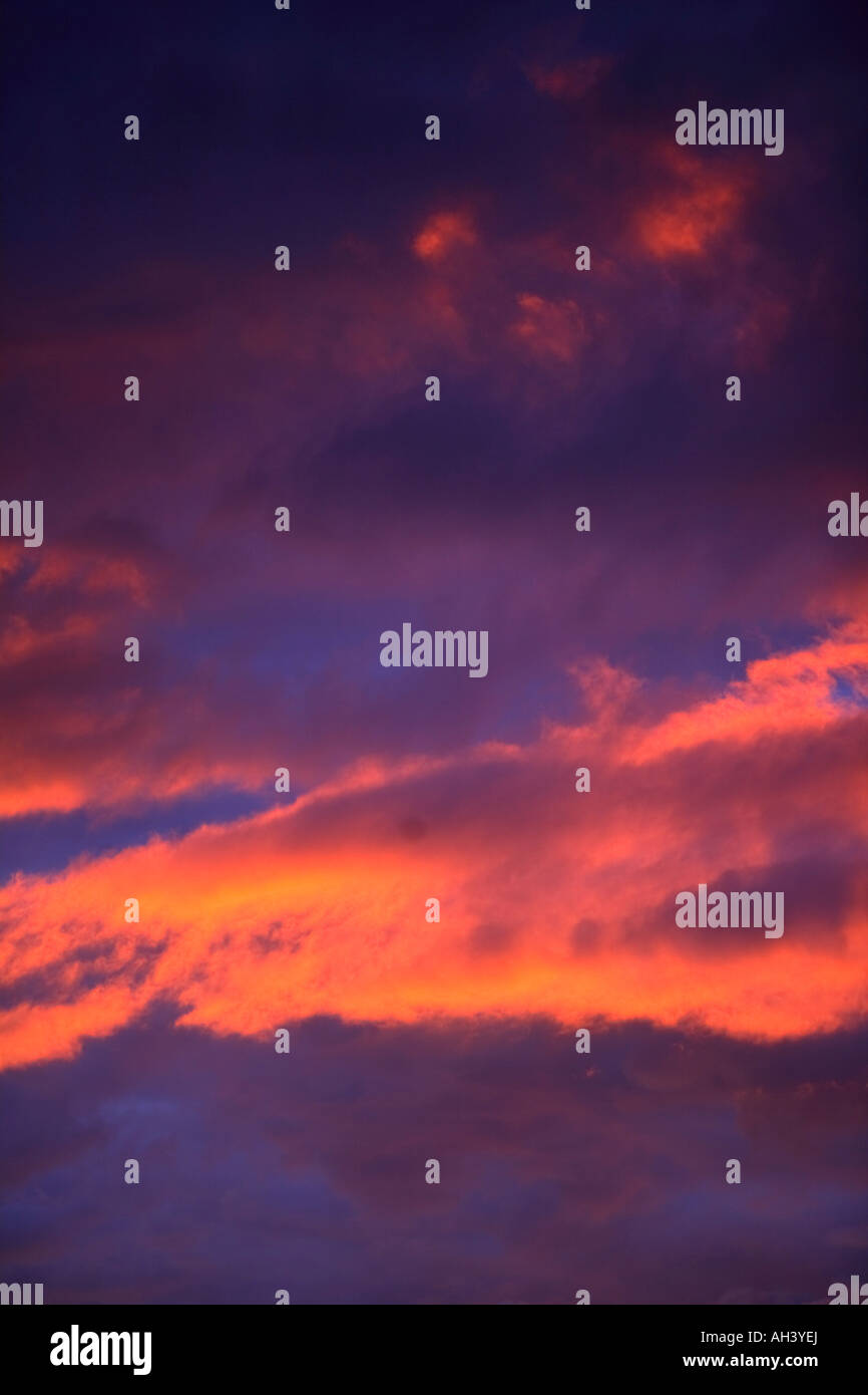 Clouds in sky with pink glow Stock Photo