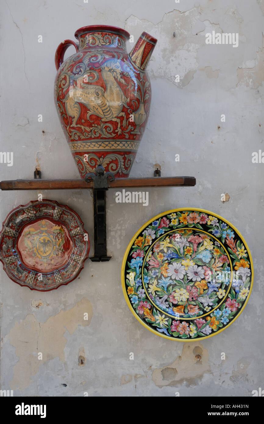 Gubbio Umbria Italy Display of local ceramics showing the